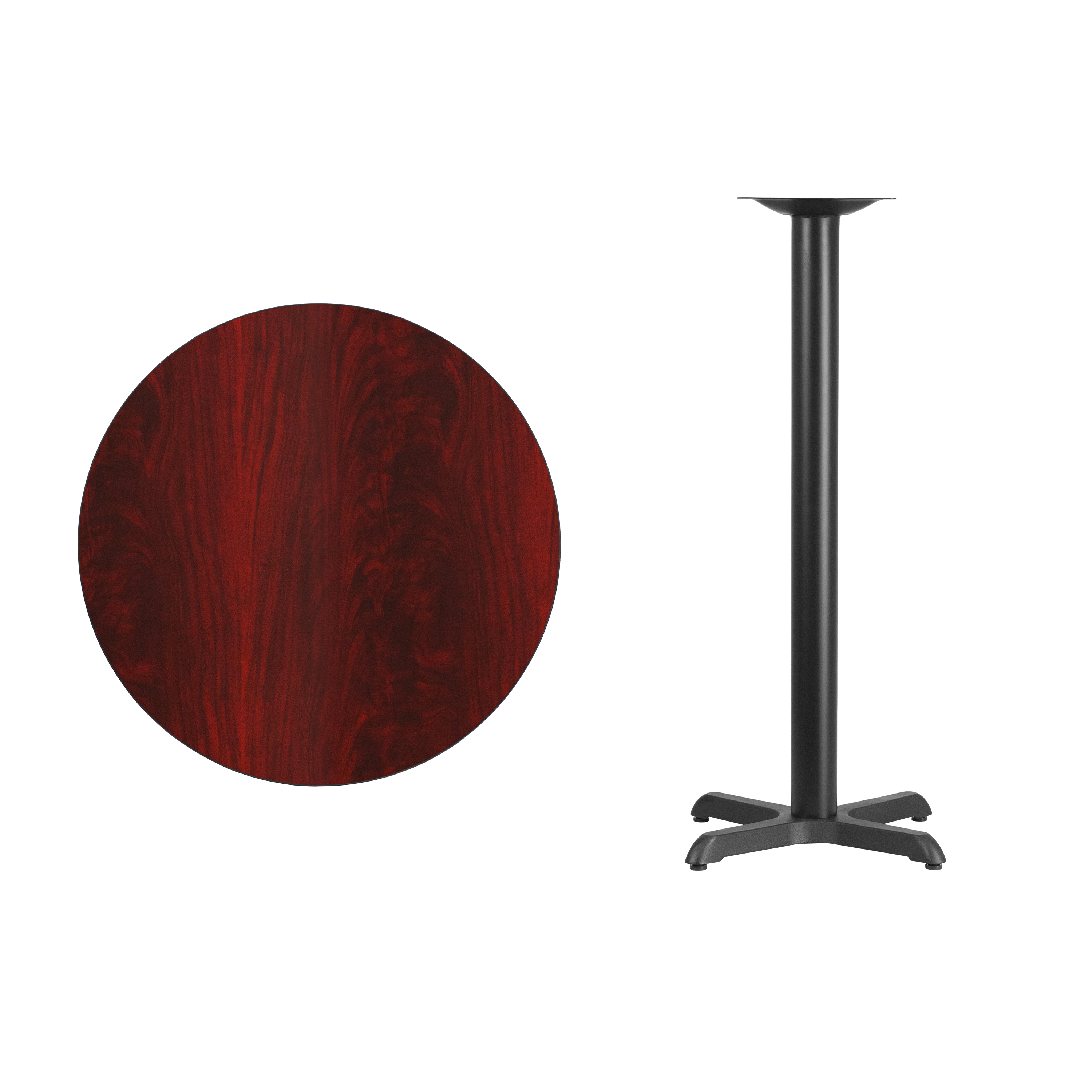 """30/"""" Round Laminate Table Top with 22/""""x22/"""" Bar Height Table Base"""