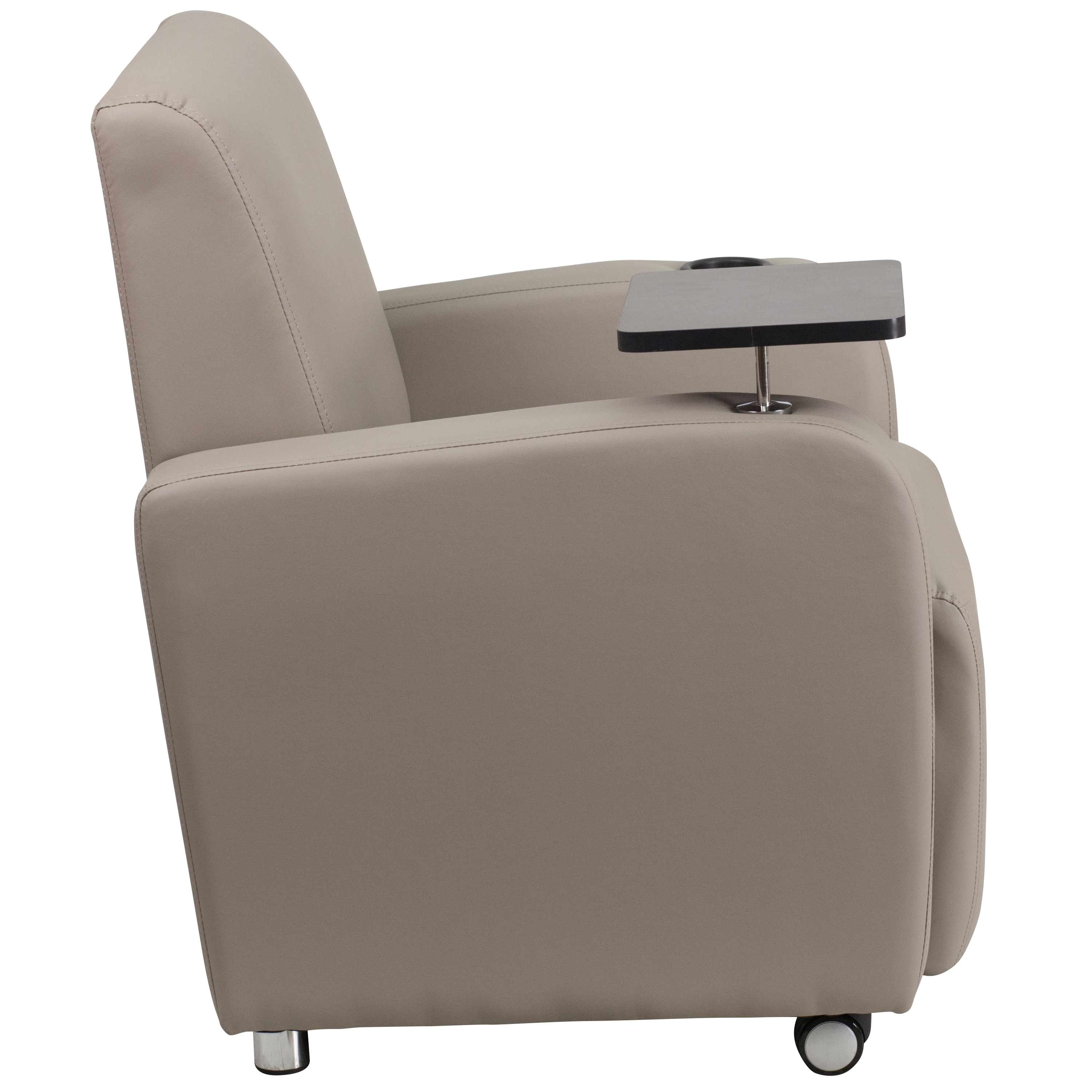 Tablet Arm Guest Chair With Front Wheel Casters And Cup