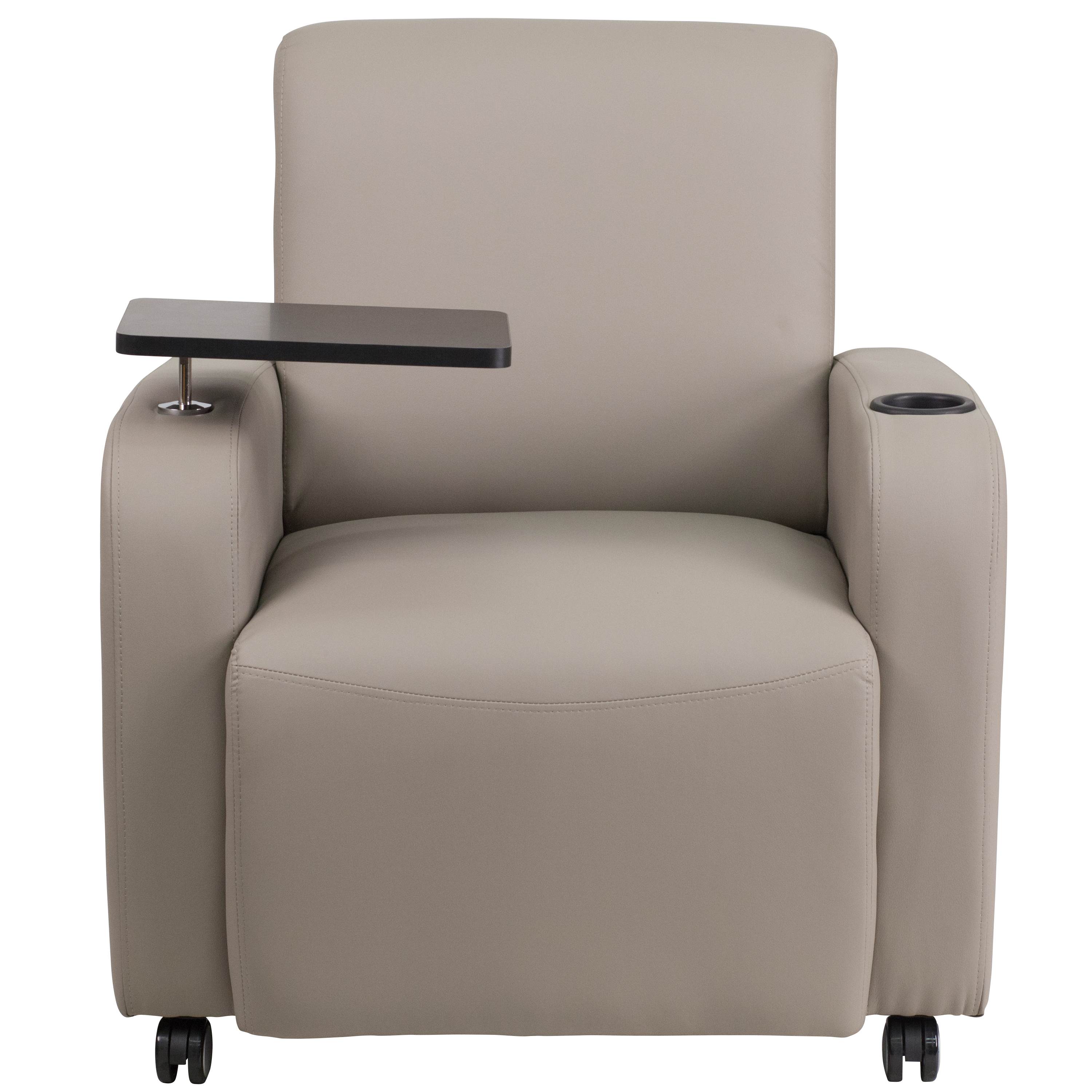 Tablet Arm Guest Chair with Front Wheel Casters and Cup ...