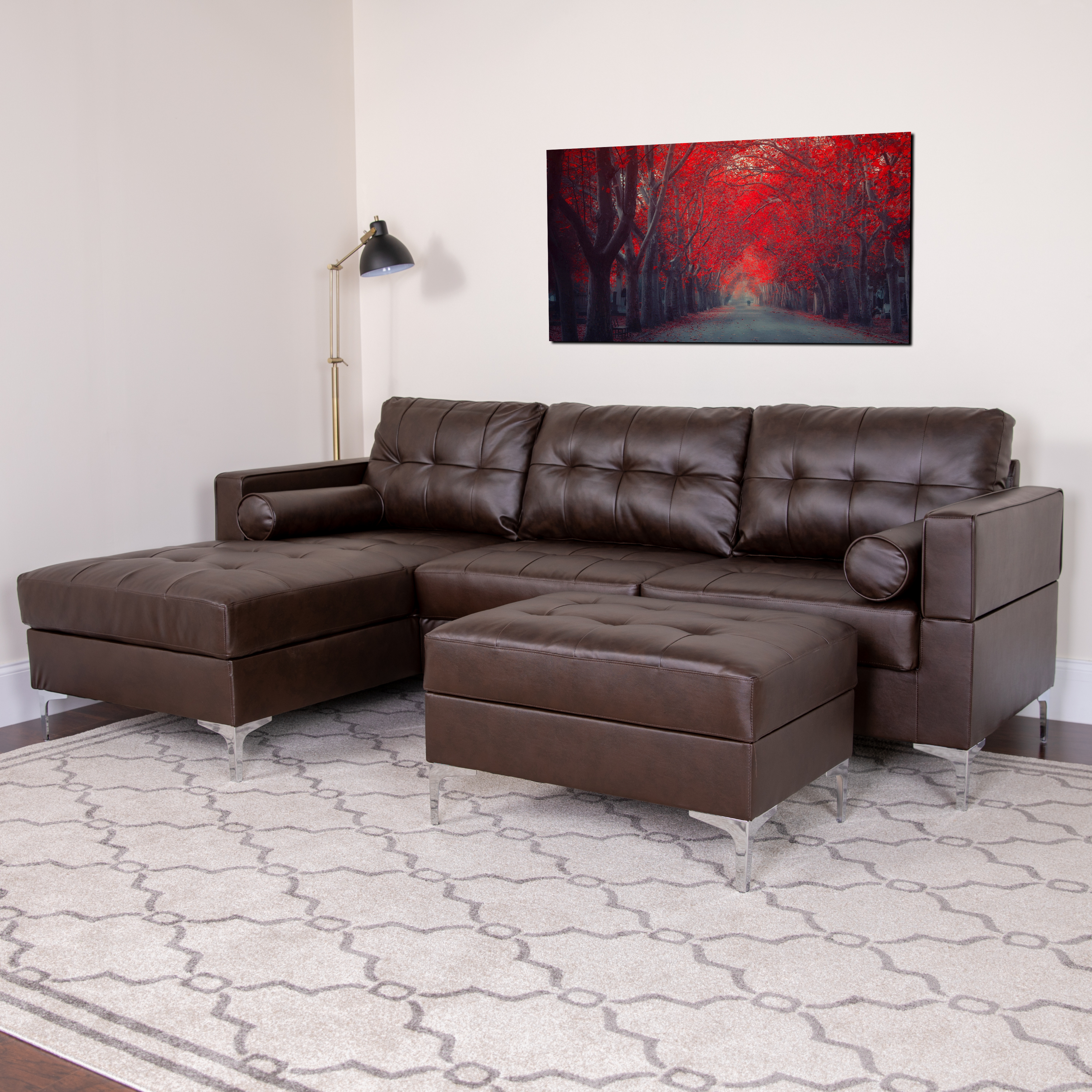 Tufted Back Left Side Facing Chaise Sectional and Ottoman ...