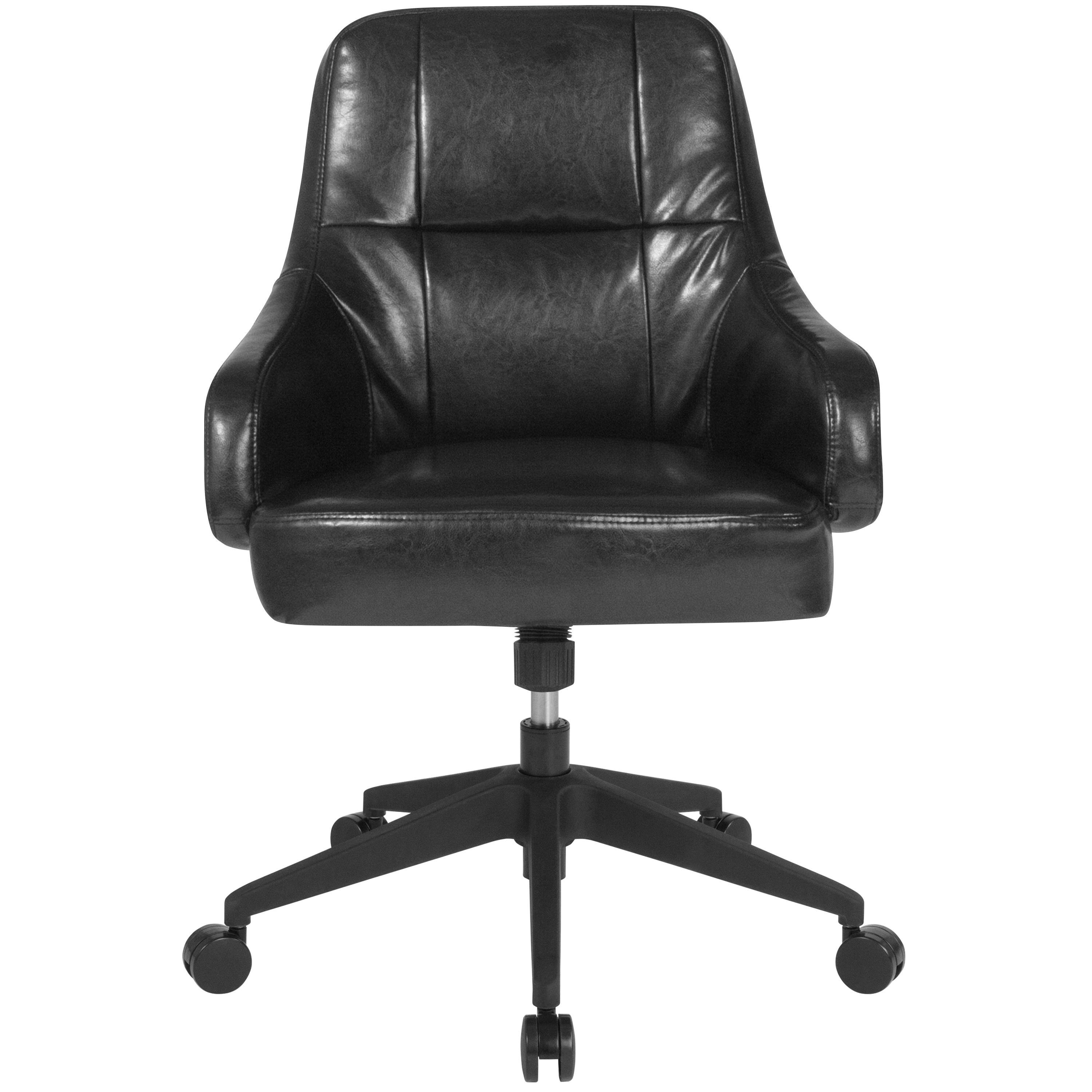 Home Office Panel Tufted Mid-Back Wing Arm Office Chair