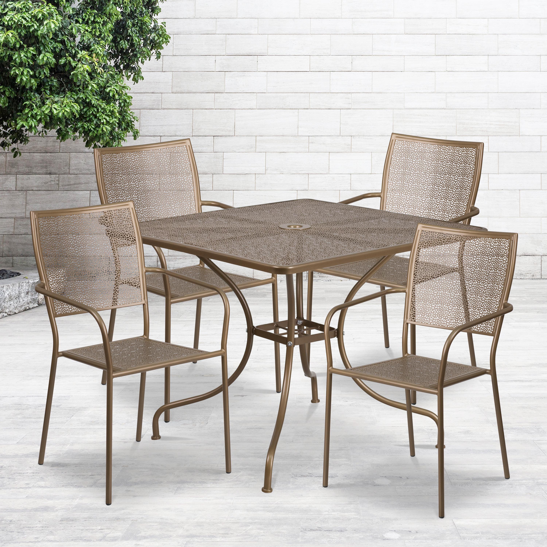 "Commercial Grade 35.5"" Square Metal Garden Patio Table Set,"