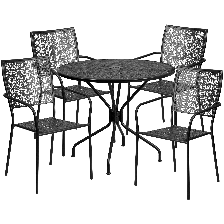 Commercial Grade 35 25 Quot Round Metal Garden Patio Table Set