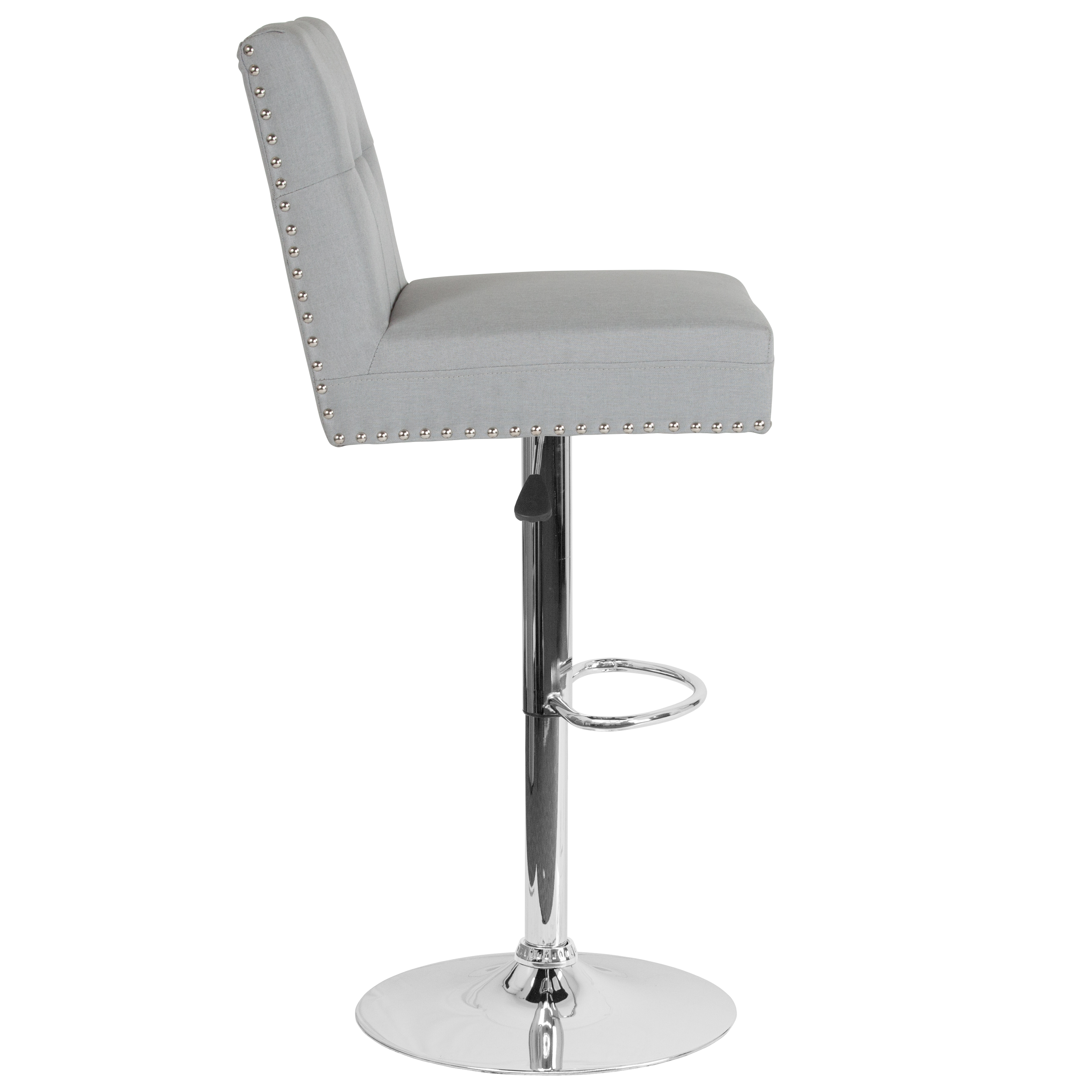 Tufted Back Adjustable Height Barstool With Accent Nail