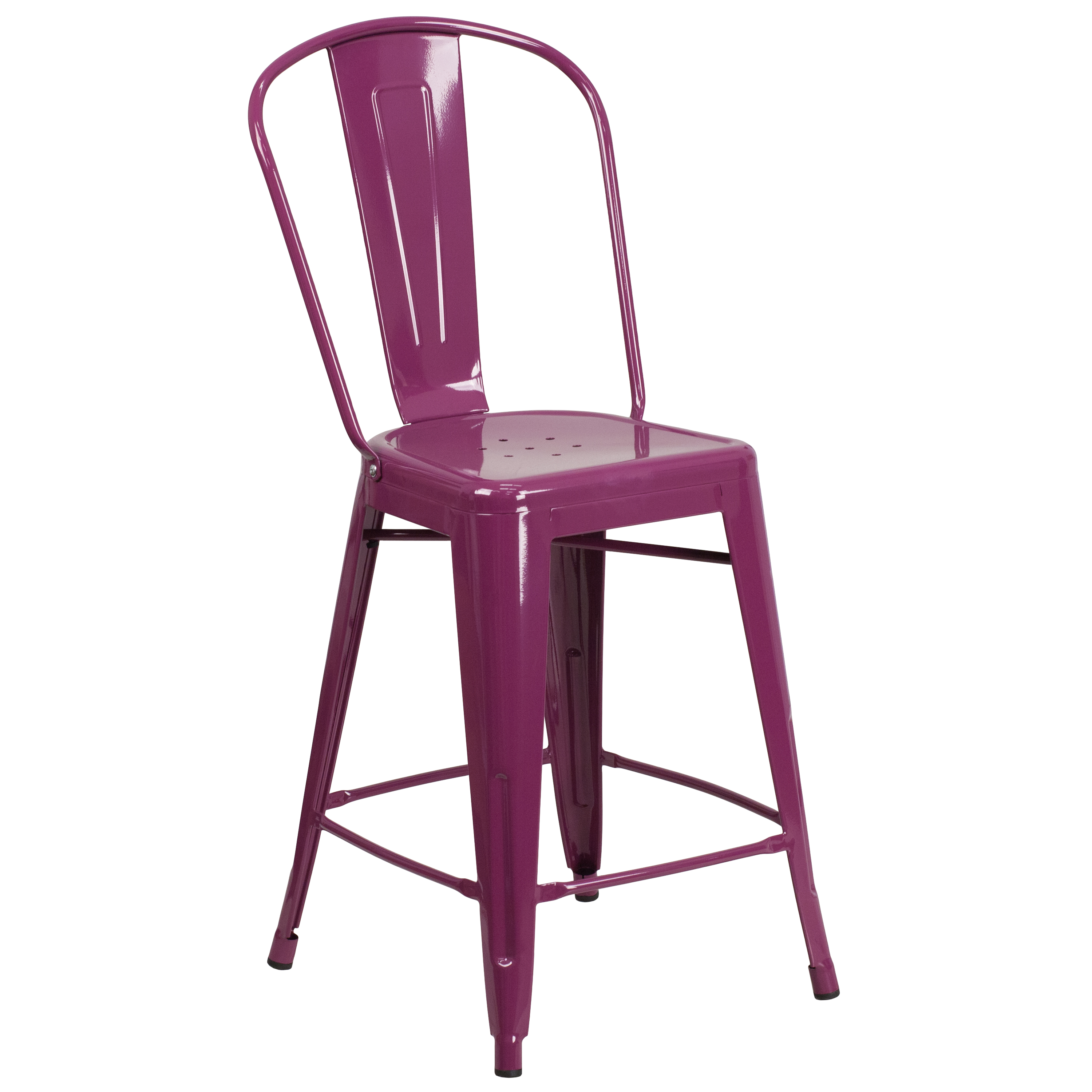 Sensational Details About 24H Metal Indoor Outdoor Counter Stool With Drain Holes And Back Squirreltailoven Fun Painted Chair Ideas Images Squirreltailovenorg