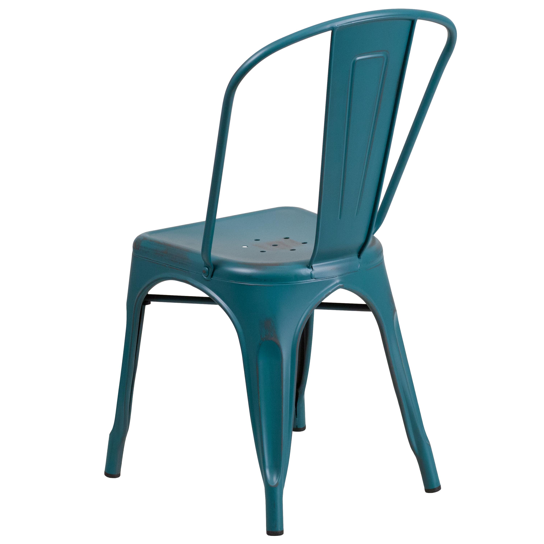 Emma Oliver Distressed Green-Blue Metal Indoor-Outdoor Stackable Chair