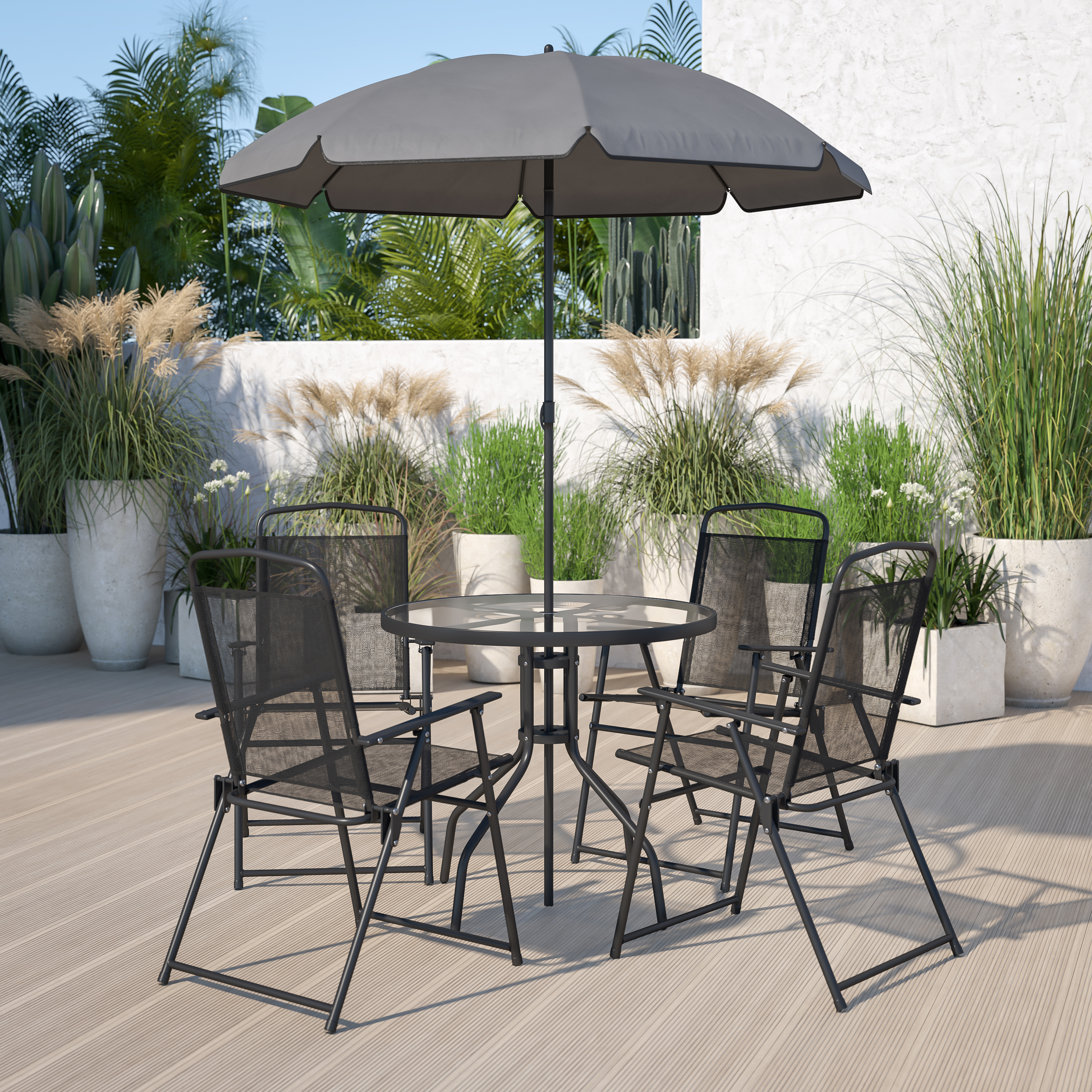6 Piece Black Patio Set With Table Umbrella And 4 Folding