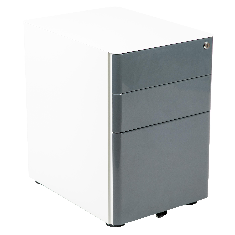 Modern 3-Drawer Mobile Locking Filing Cabinet Storage Organi
