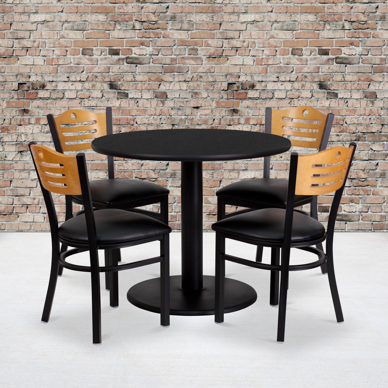 "36"" Round Black Laminate Table Set, 4 Wood Slat Back Metal C"