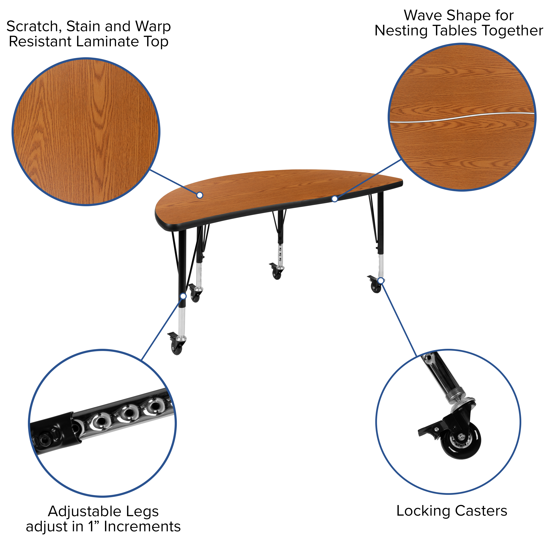 Oliver Mobile 30x48 Oak HP Laminate Adjustable Activity Table Emma